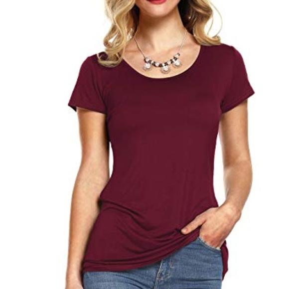 best sneakers 50% off best wholesaler Women's Flowy Soft Plain Tee Shirt in maroon